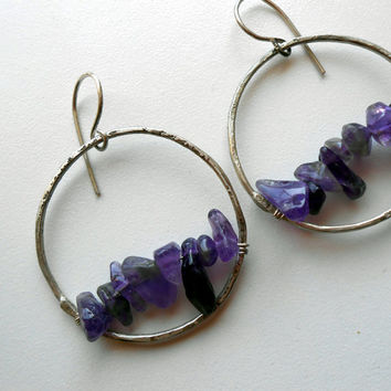 Upside - Amethyst and Argentium Silver Earrings