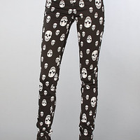 The Skull Printed Skinny Pant in Black & White