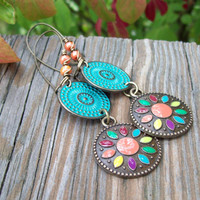Patina Metal Dangle Earrings - Colorful Painted Flower Medallion Rounds - Hippie Earrings - Boho