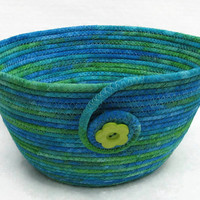 Coiled Fabric Bowl, Basket, Blue and Green