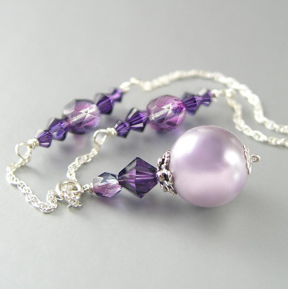 Lavender Pearl Necklace Sterling Silver Swarovski Amethyst Crystal Necklace Plum Grape Violet Mauve Lilac Necklace