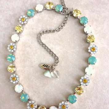 Swarovski crystal necklace, Daisy flowers, white opal, pacific opal, designer inspired Siggy bling