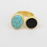 Turquoise and Onyx Ring - Buy From ShopDesignSpark.com