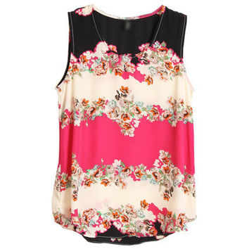 Flower Printed Rose Chiffon Shirt [NCSHM0119] - $21.99 :