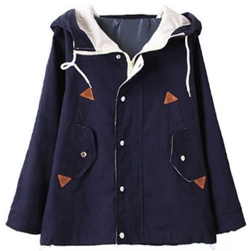 Preppy Chic Hooded Jacket - OASAP.com