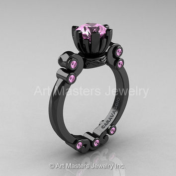Caravaggio 14K Black Gold 1.0 Ct Light Pink Sapphire Solitaire Engagement Ring R607-14KBGLPS