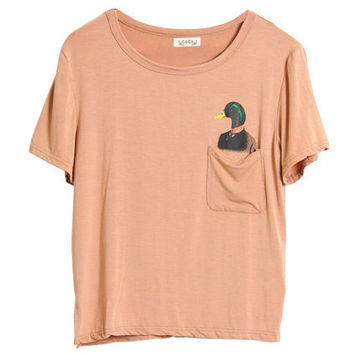 Duck Printed Pocket Nude T-shirt [NCTM0205] - $26.99 :
