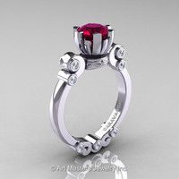 Caravaggio 14K White Gold 1.0 Ct Garnet Diamond Solitaire Engagement Ring R607-14KWGDG
