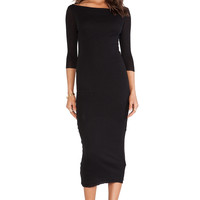 James Perse Cashmere Rib Boatneck Dress in Black