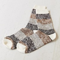 Colorblock Texture Boot Sock- Cream One