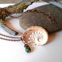 Deepsea green shell necklace on a copper chain