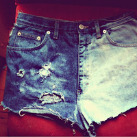 ripped denim high-waisted hot pants