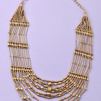 Multi Strand Beaded Necklace - Antiqued Gold – H.C.B.