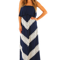Judith March: Stronger Than Yesterday Maxi Dress: Navy/Cream