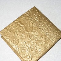 Origami Wallet Gold Colored with Floral Designs