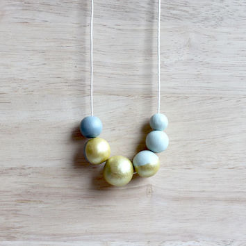 handpainted wooden geometric necklace // simple light green gray gold dipped necklace - minimalist and eco-friendly everyday jewelry