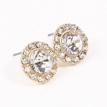 Rhinestone Halo Stud Earrings - Gold or Silver – H.C.B.