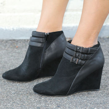 """Marilyn"" Suede Wedge Booties with Leather Contrast Ankle Straps - Bla – H.C.B."