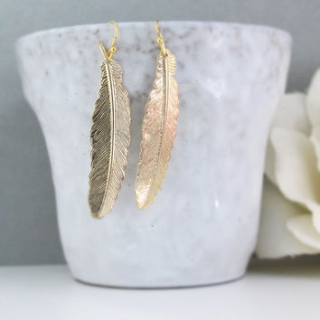 Gold Feather Leaf Earrings. Dangle Drop Nature Woodlands Gold Plated Over Brass Long Dangle Boho Chic Earrings