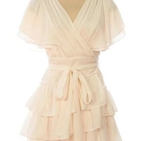 Mid Town Faux Wrap Romance Tiered Ties Waist Chiffon Dress