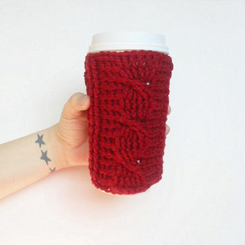 Berry Red Cable Stitch Coffee Cozy, ready to ship.
