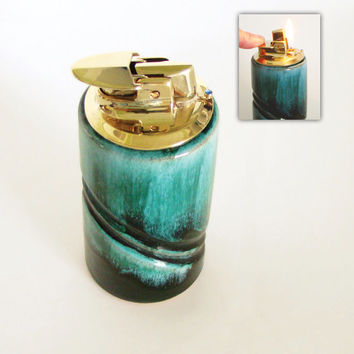 Blue Mountain Pottery Ronson Varaflame Mad Men Table Lighter, 1960s