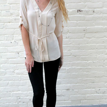 Pleated Front Blouse with Tie Waist - Beige – H.C.B.