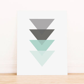 Triangle Mint Geometric Art PRINTABLE Art Dorm Decor Typography Poster Home Decor Office Decor Apartment Poster