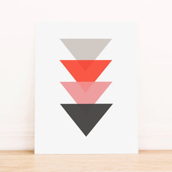 Triangle Pink Neon Orange and Gray  Geometric Art PRINTABLE Art Dorm Decor Typography Poster Home Decor Office Decor Apartment Poster
