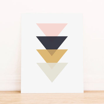 Triangle Pink Black and Gold Geometric Art PRINTABLE Art Dorm Decor Typography Poster Home Decor Office Decor Apartment Poster