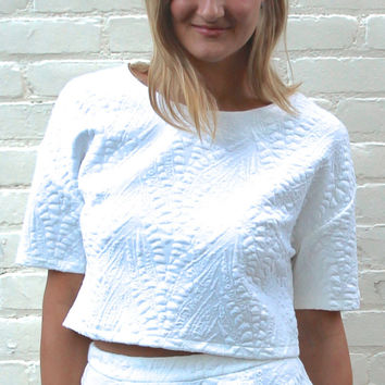 Short Sleeve Textured Crop Top - White – H.C.B.