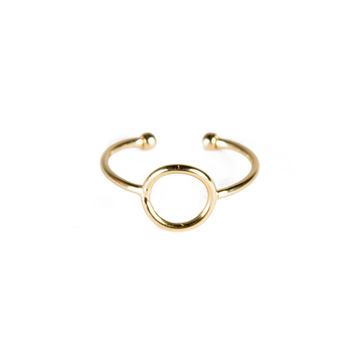 Circle Cut Out Knuckle Ring - Gold / One