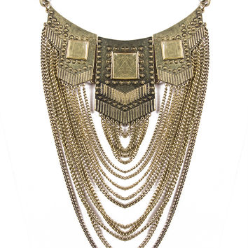 HEAVY METAL ANTIQUE CHAIN DRAPED NECKLACE