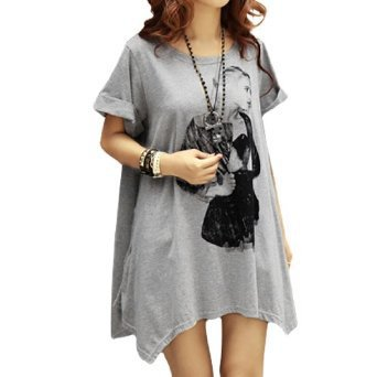 Allegra K Women Printed Front Scoop Neck Short Sleeve Tunic Shirt Top