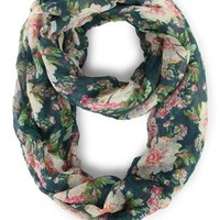 Woven Infinity Scarf with Large Floral Print