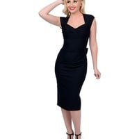 Stop Staring! 1940s Black Love Wiggle Dress | Unique Vintage