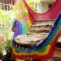 Rainbow Colors Sitting Hammock, Hanging Chair Natural Cotton and Wood plus Simple Fringe