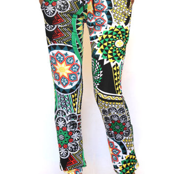 Fancy Oriental Print Jogger Pants