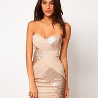 Elise Ryan Mesh Sequin Panelled Bandeau Dress at asos.com