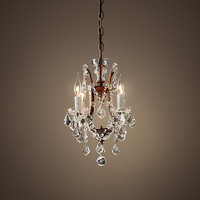 "19th C. Rococo Iron & Clear Crystal Round Chandelier 13"" - Rustic Iron"