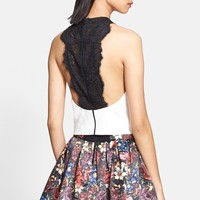 Alice + Olivia 'Wolla' Lace Back Crop Top | Nordstrom