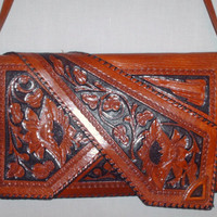 Vintage 1940s Tooled Clutch Handbag