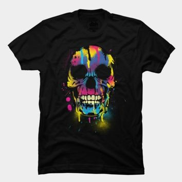 Skull with Colorful Drips And Paint Splatters by ddtk