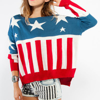 American Flag Print Long Sleeve Sweater