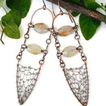 Bohemian chandelier earrings with rutilated quartz