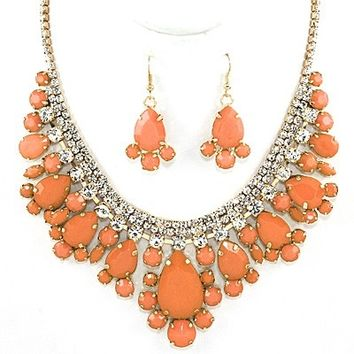 Clustered Stones and Rhinestones Women's Necklace Set