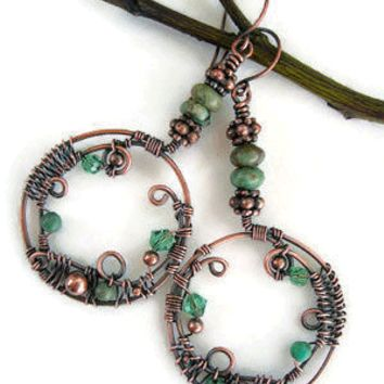 Bohemian style hoop earrings with crystals