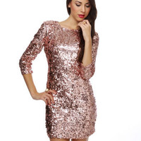 Sassy Sequin Dress - Pink Dress
