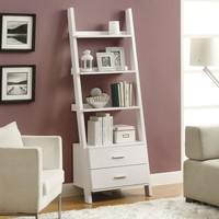 Monarch 69 in. Ladder Bookcase with 2 Storage Drawers - White | www.hayneedle.com