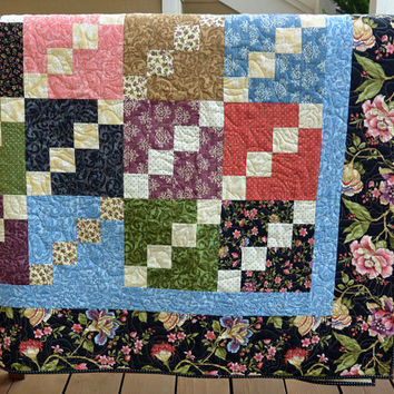 Handmade Traditional Floral Patchwork Lap or Throw Quilt